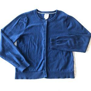 Land's end kids blue knit cardigan
